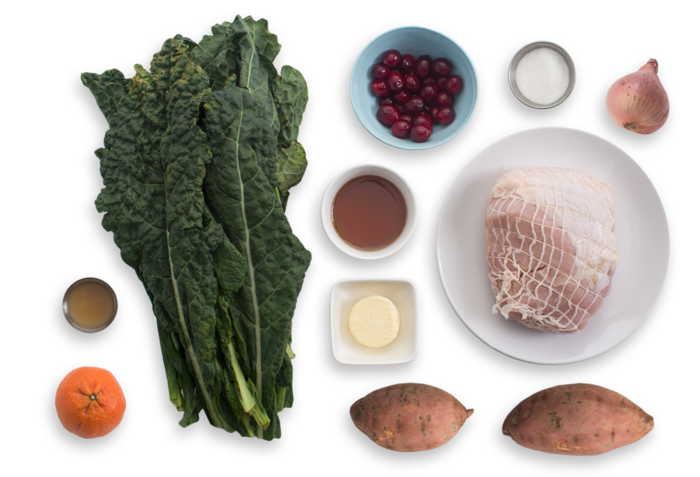 Roasted Turkey with Mashed Sweet Potatoes, Kale & Cranberry Sauce ingredients