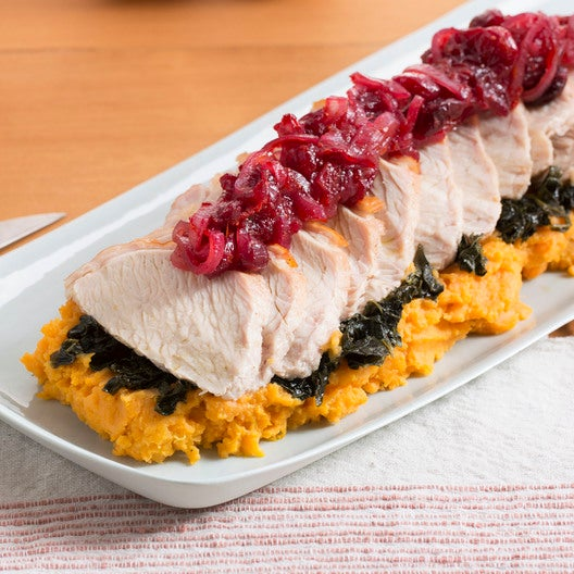 Roasted Turkey with Mashed Sweet Potatoes, Kale & Cranberry Sauce