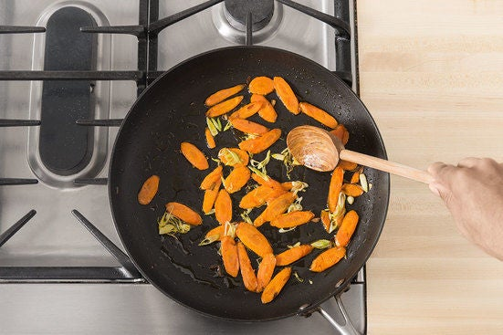 Cook the carrots & finish the rice: