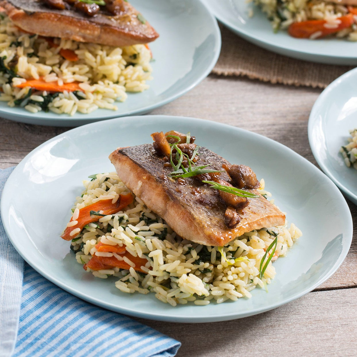 Seared Salmon & Chestnut-Butter Sauce with Carrots, Spinach & Rice