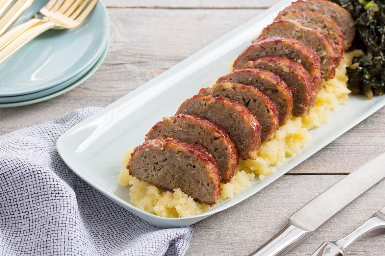 Pork Meatloaf with Mashed Rutabaga & Sautéed Collard Greens