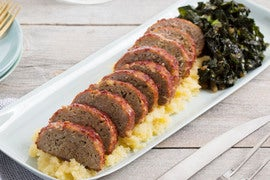 Pork Meatloaf with Mashed Rutabaga & Sautéed Collard Greens