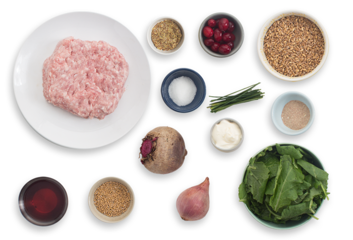 Pork Meatballs with Beet & Cranberry Agrodolce ingredients