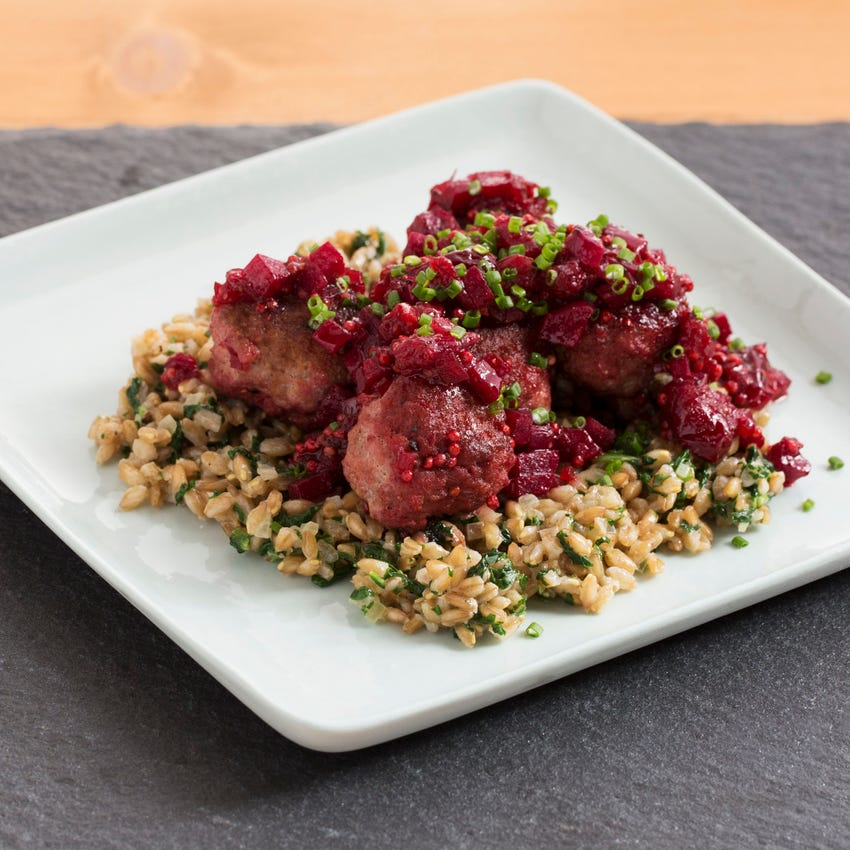 Pork Meatballs with Beet & Cranberry Agrodolce