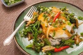 Cod with Szechuan Sauce over Cellophane Noodles