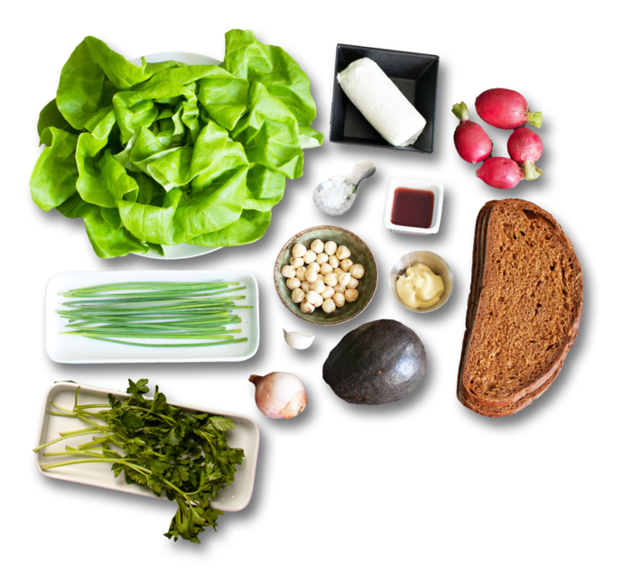 Avocado-Goat Cheese Tartines with Bibb Lettuce Salad ingredients