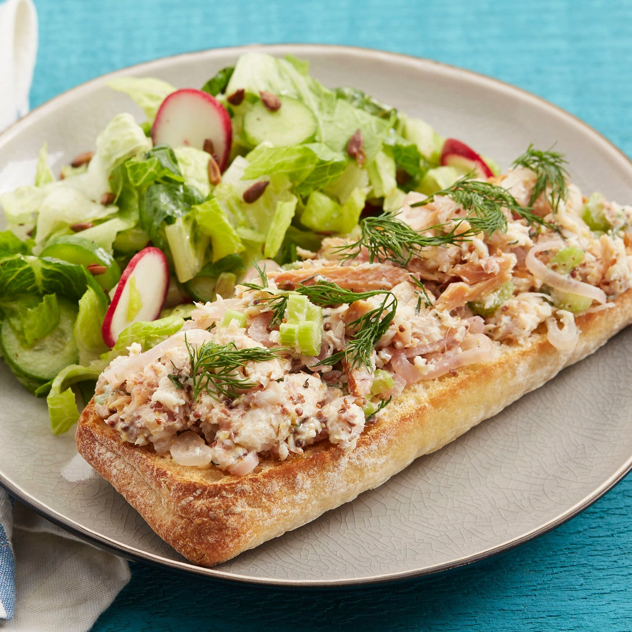 Smoked Trout Tartines with Romaine, Cucumber & Radish Salad