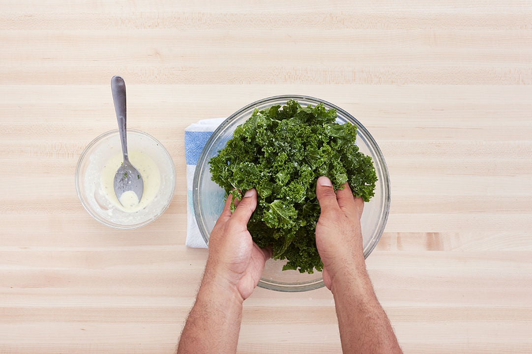 Make the dressing & massage the kale: