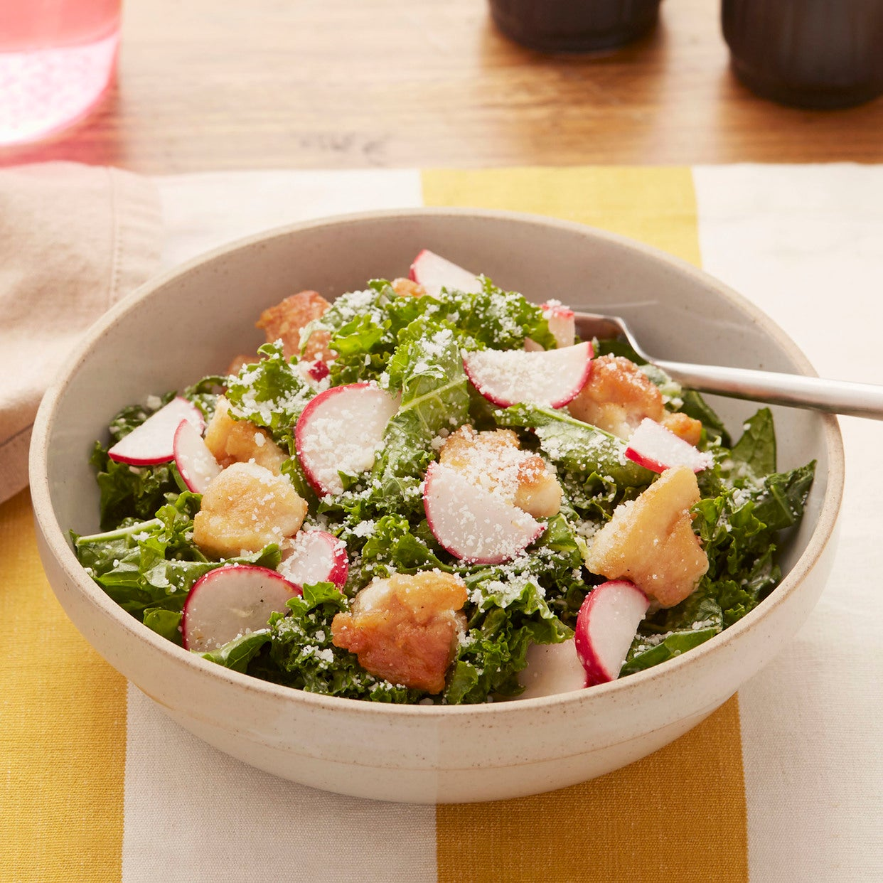 Chicken & Kale Caesar-Style Salad with Radishes & Almonds