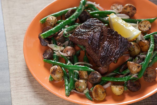 Seared Hanger Steak with Rosemary Fingerling Potatoes & Green Bean Salad