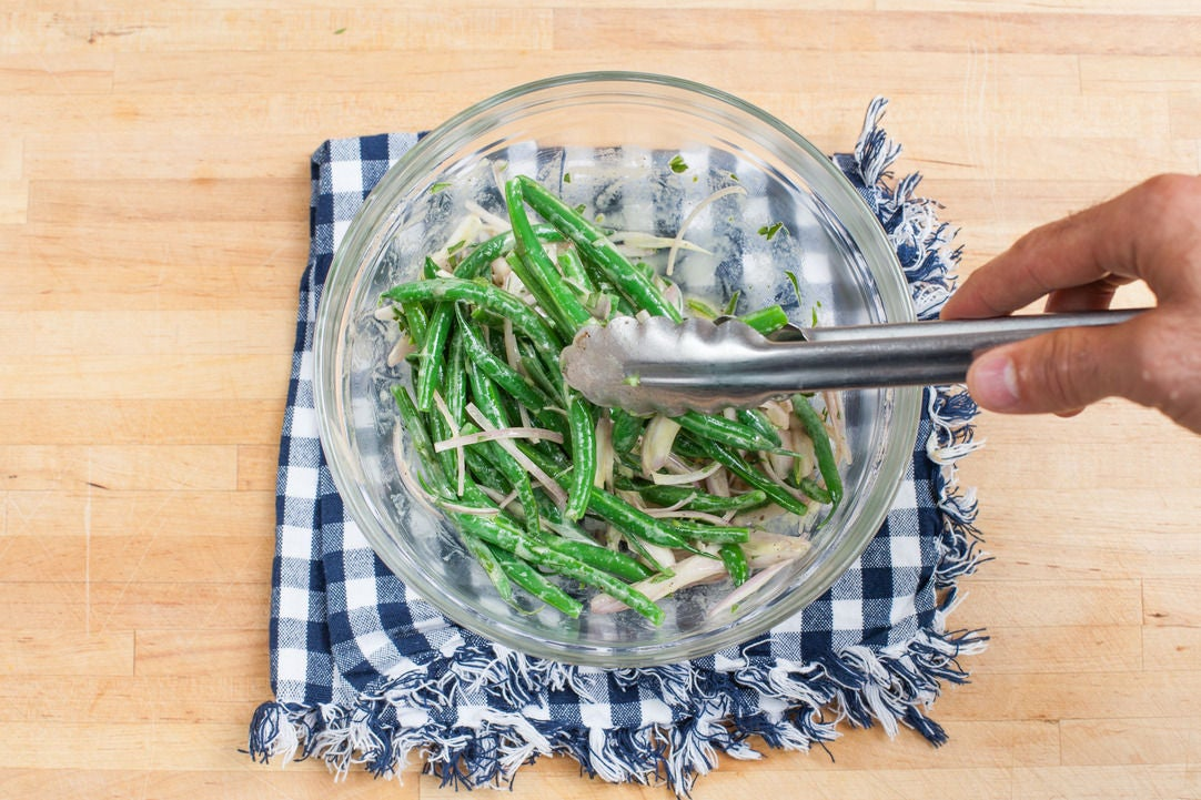 Make the green bean salad: