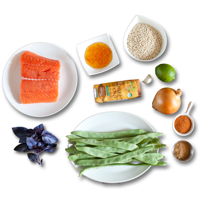 Bronzed Salmon with Orange Marmalade  & Israeli Couscous ingredients