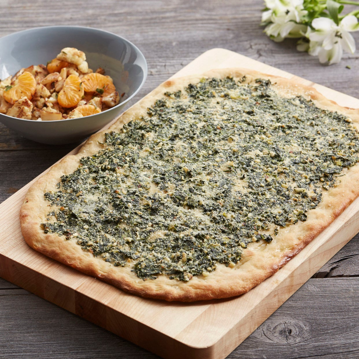 Spinach & Ricotta Pizza with Sautéed Cauliflower & Clementine Salad