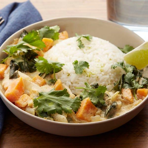 Thai Green Coconut Curry with Sweet Potato & Jasmine Rice
