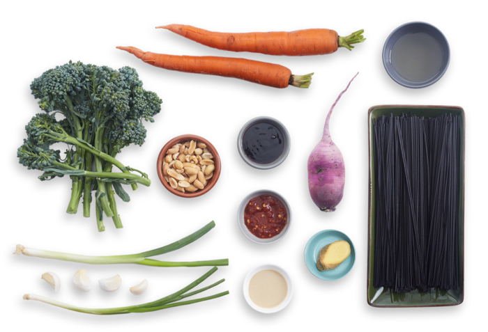 Spicy Black Rice Noodles with Daikon Radish, Garlic Peanuts & Broccolini ingredients