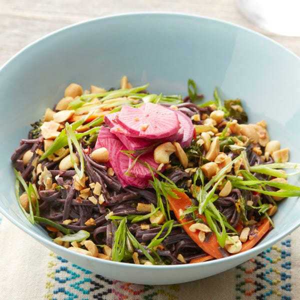 Spicy Black Rice Noodles with Daikon Radish, Garlic Peanuts & Broccolini