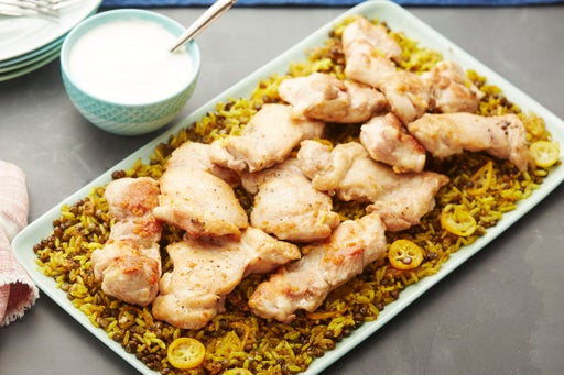 Seared Chicken Thighs with Kumquats, Spiced Rice & Lentils