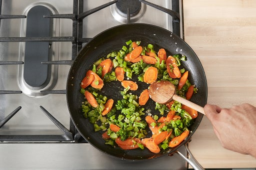 Cook the carrots & broccoli: