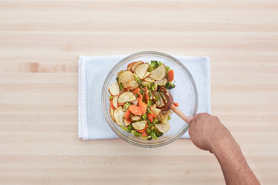 Dress the vegetables: