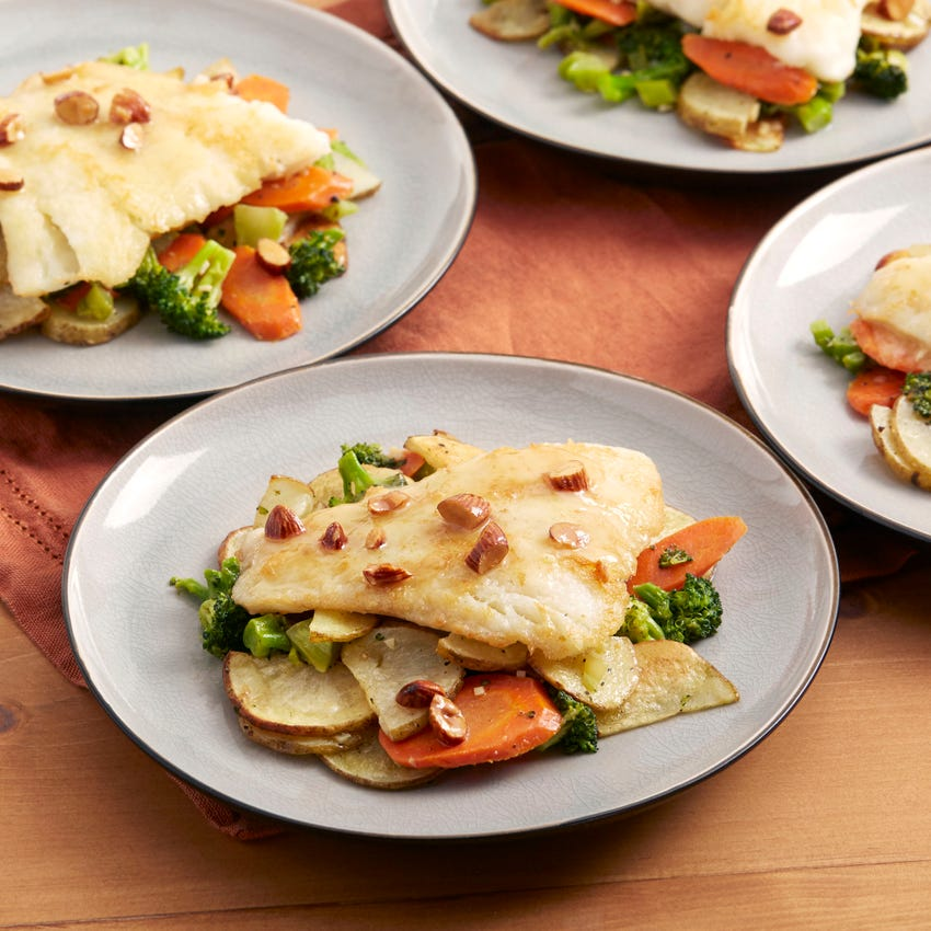 Pan-Seared Cod with Meyer Lemon Sauce & Fall Vegetables
