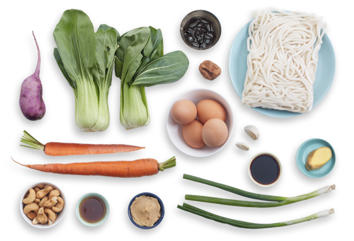 Miso Udon Noodle Soup with Purple Daikon, Bok Choy & Soft-Boiled Eggs ...