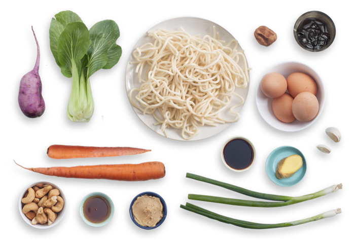 Miso Udon Noodle Soup with Purple Daikon, Bok Choy & Soft-Boiled Eggs