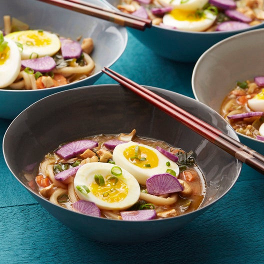 Miso Udon Noodle Soup with Purple Daikon, Bok Choy & Soft-Boiled Eggs