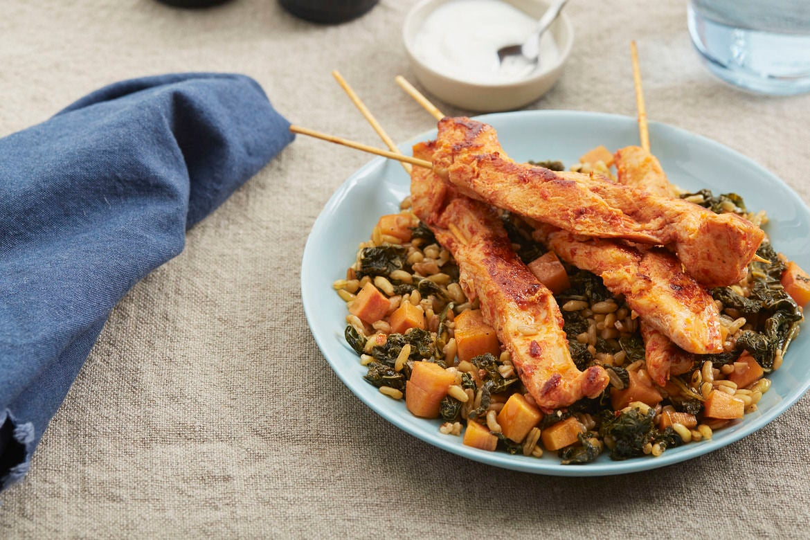 Harissa Chicken Skewers with Khorasan Wheat & Persimmon Salad
