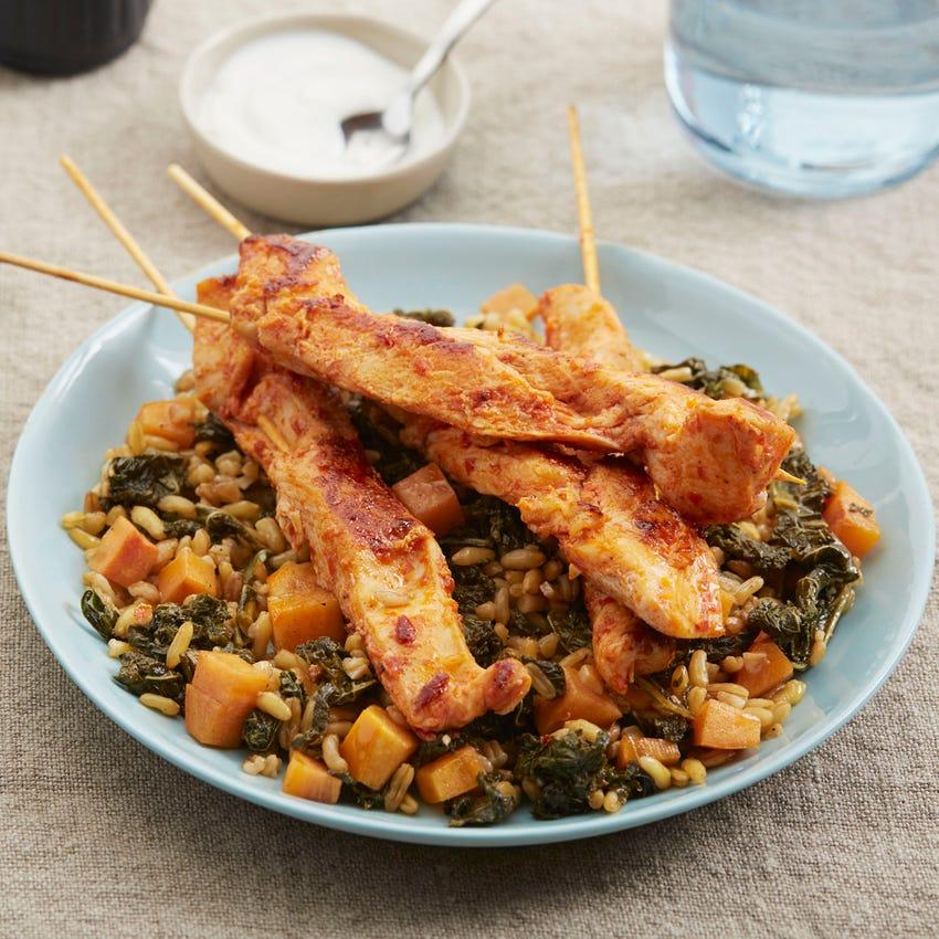 Harissa Chicken Skewers with Khorasan Wheat & Persimmon Salad