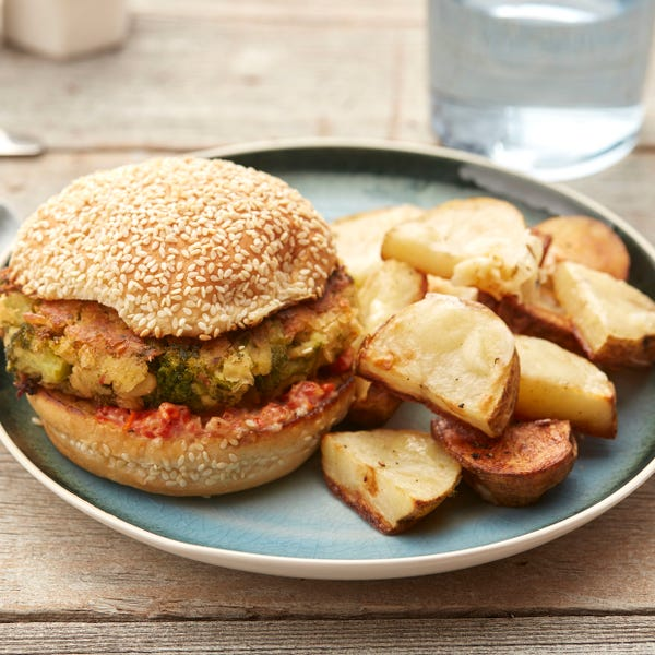 Broccoli & White Bean Burgers with Cheesy Roasted Potato