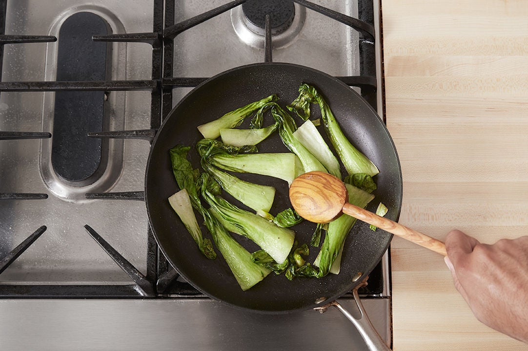Cook the bok choy & plate your dish: