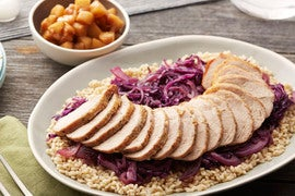 Roasted Pork & Braised Cabbage with Barley & Glazed Apples