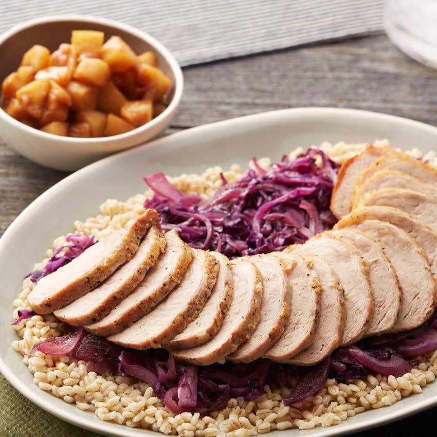 Roasted Pork & Braised Cabbage with Barley & Glazed Apples