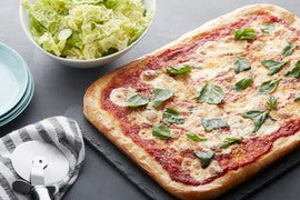 Fresh Mozzarella & Basil Pizza with Savoy Cabbage Salad