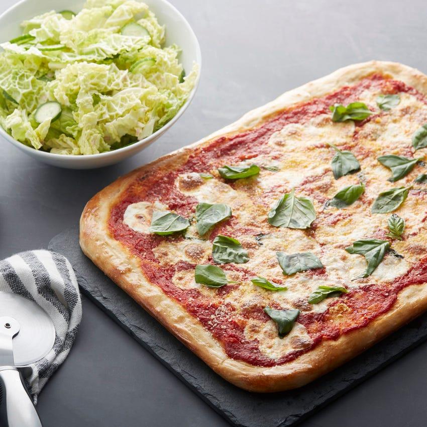 Fresh Mozzarella & Basil Pizza with Savoy Cabbage Salad