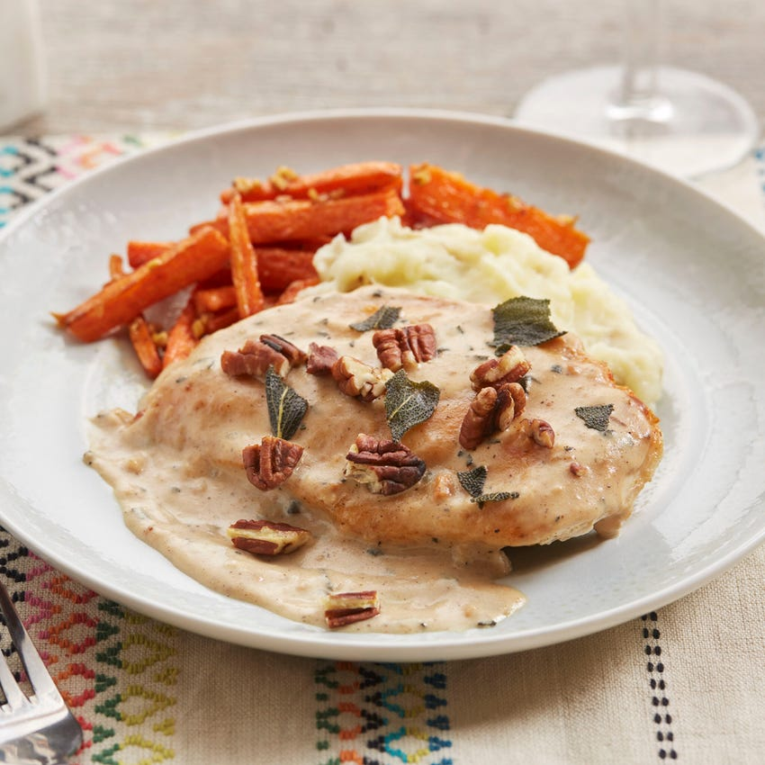 Seared Chicken & Sage Gravy with Carrots & Mashed Potato