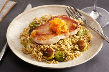 Seared Pork Chops with Freekeh Salad & Clementine Chutney