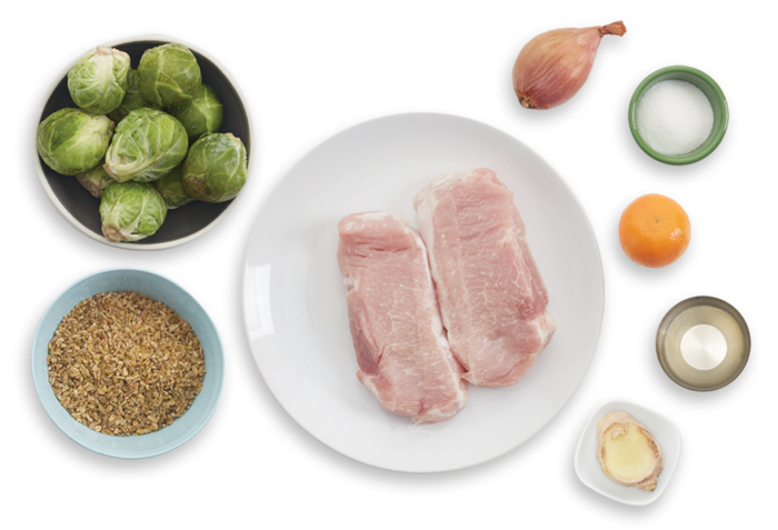 Pork Chops & Freekeh Salad with Brussels Sprouts & Clementine Chutney ingredients