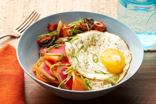 Vegetable Bibimbap with Red Choi, Persimmon & Fried Eggs