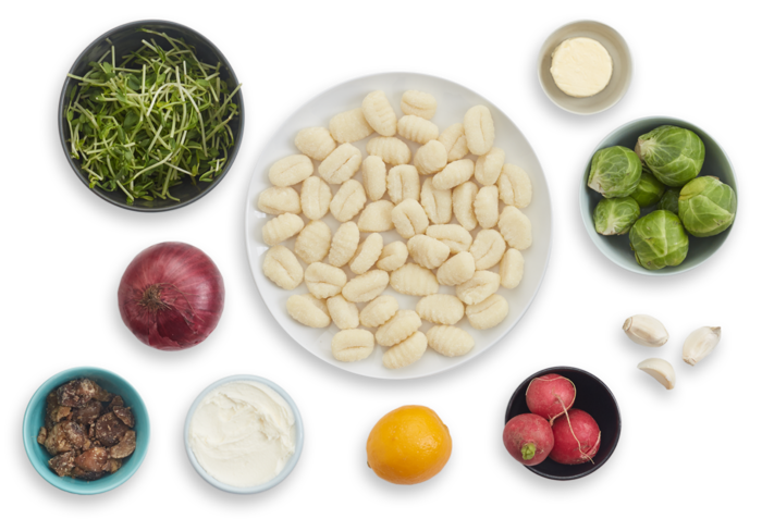 Brown Butter & Chestnut Gnocchi with Brussels Sprouts & Pea Shoot Salad ingredients
