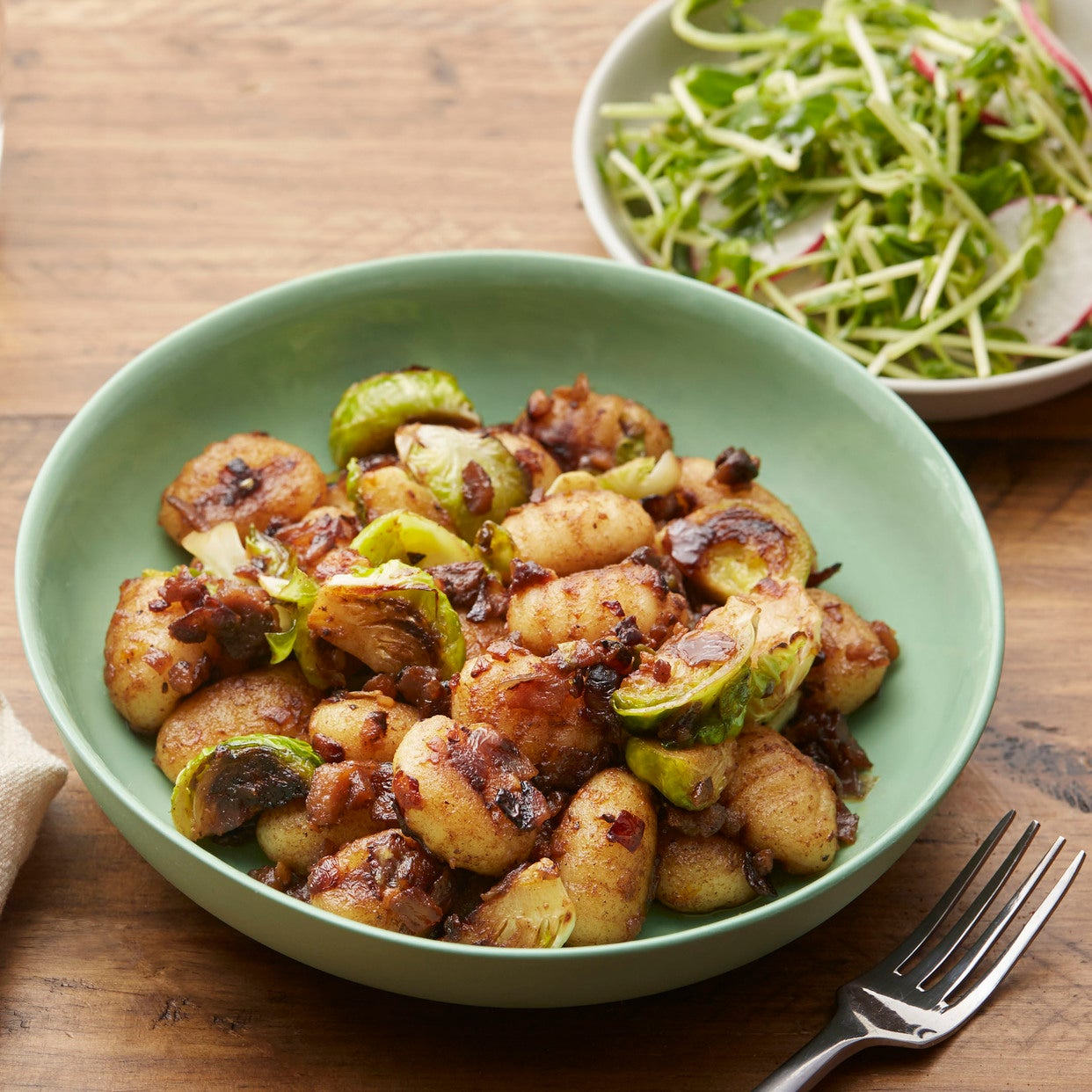 Brown Butter & Chestnut Gnocchi with Brussels Sprouts & Pea Shoot Salad