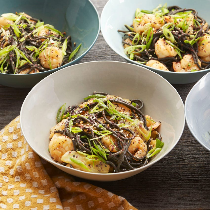 Shrimp & Squid Ink Pasta with Green Cabbage & Furikake