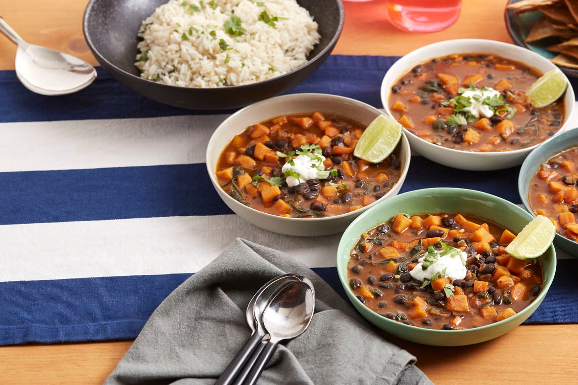 Black Bean & Sweet Potato Stew with Cilantro Rice & Oven-Toasted Tortilla Chips