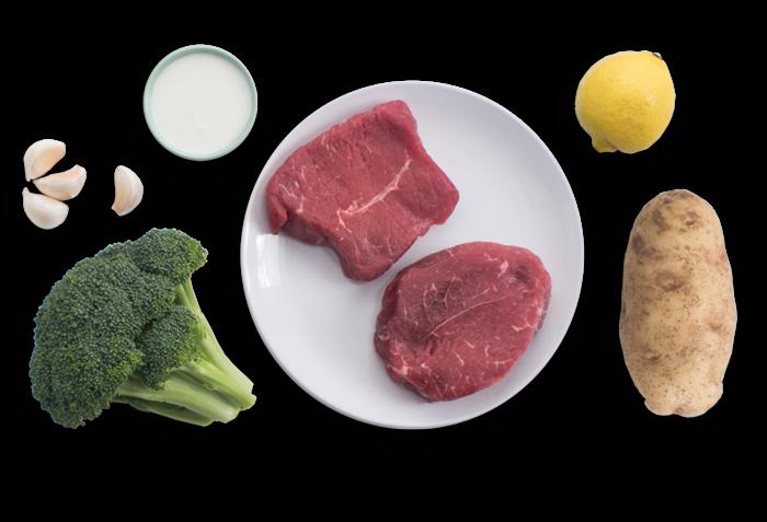 Seared Steaks with Garlic Mashed Potato & Sautéed Broccoli ingredients