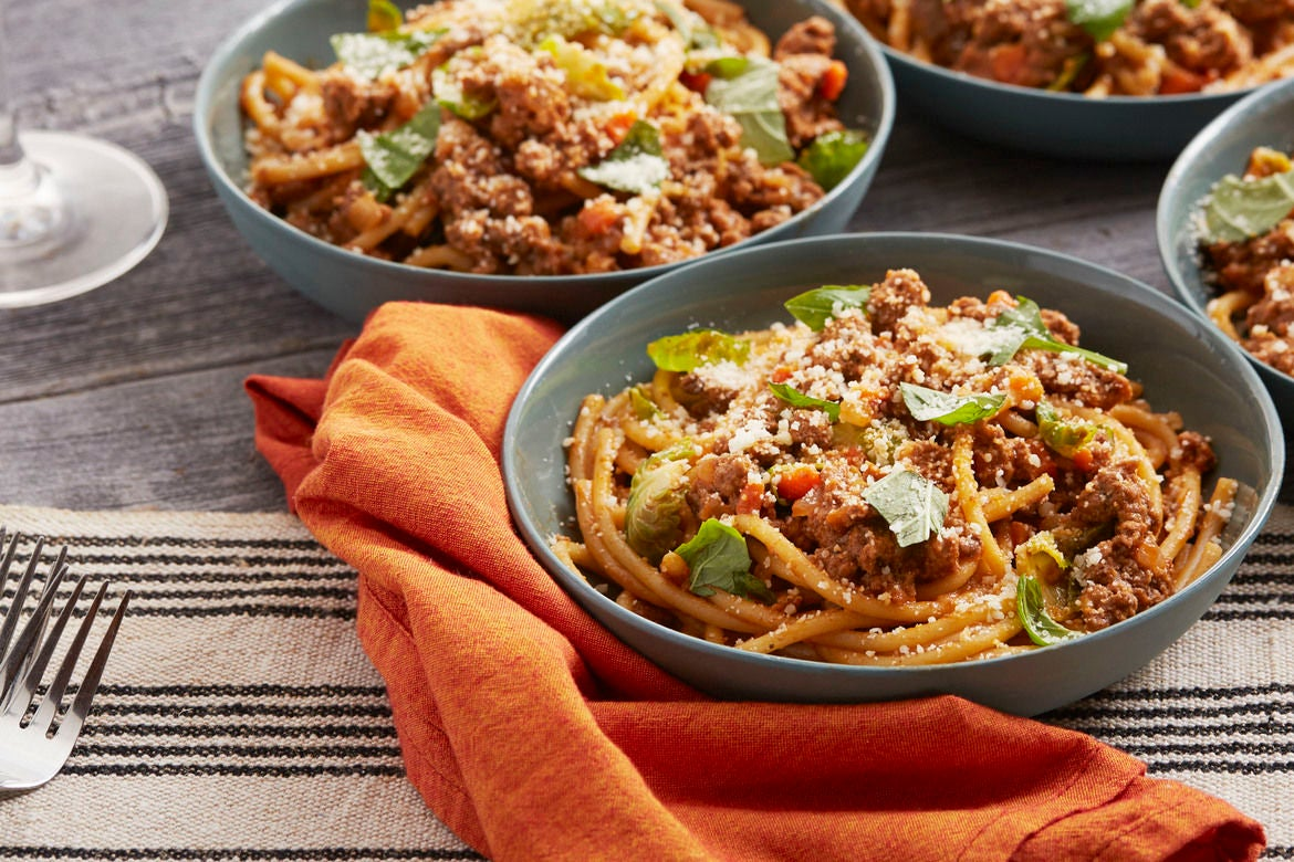 Bucatini Bolognese with Brussels Sprouts & Pecorino Cheese