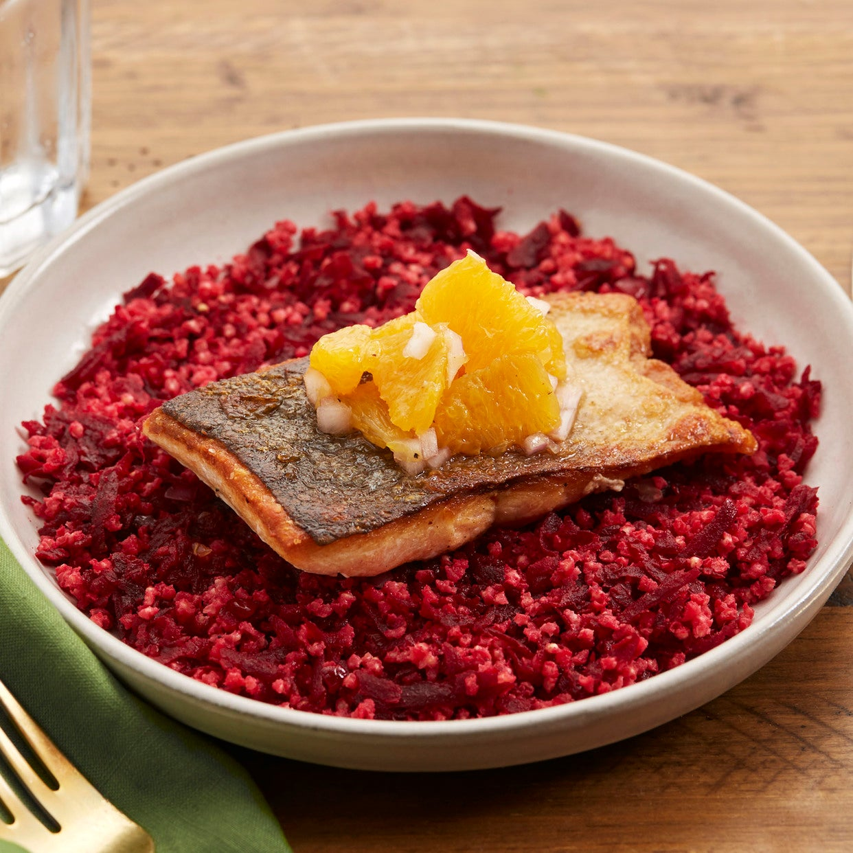 Seared Salmon with Spicy Beet & Millet Salad
