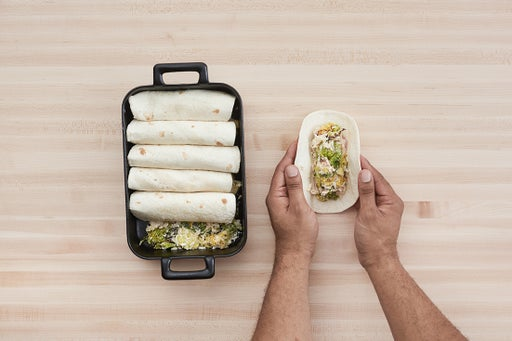 Make the filling & assemble the enchiladas: