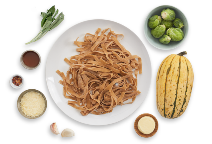 Fresh Chestnut Pasta with Brussels Sprouts & Roasted Acorn Squash