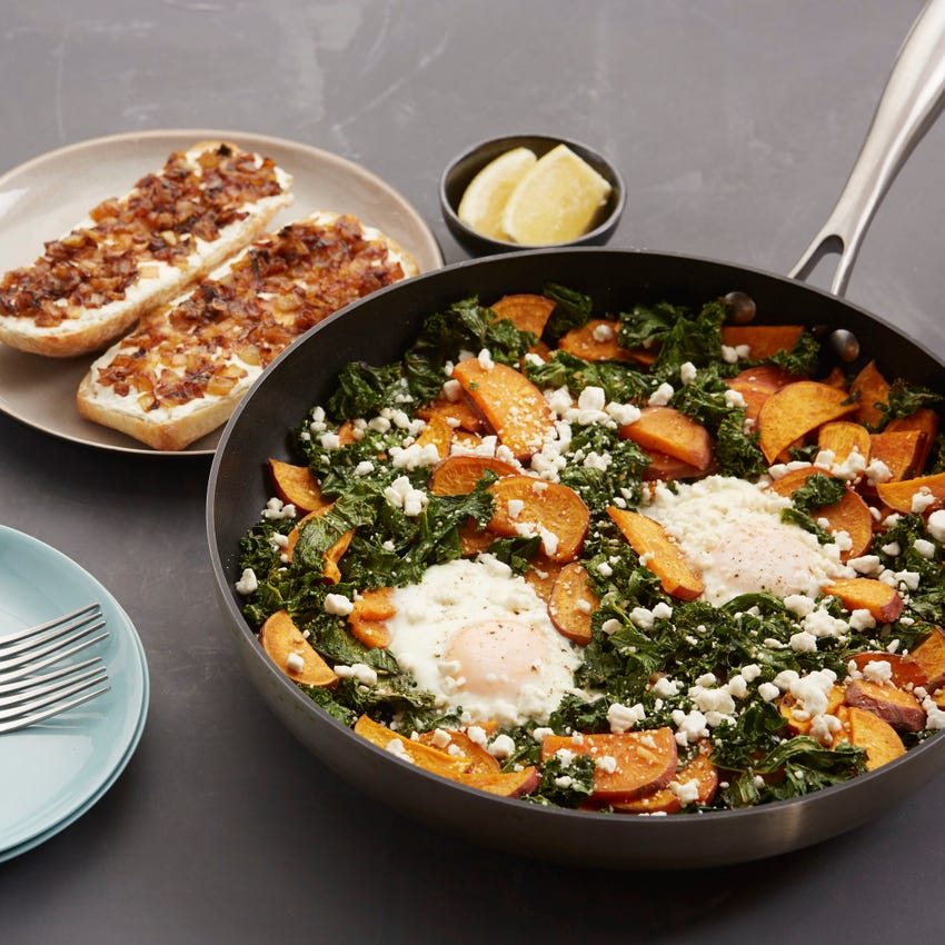 Sweet Potato & Kale Hash with Baked Eggs & Ricotta Toasts