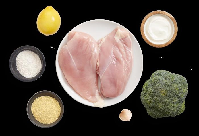 Seared Chicken & Couscous with Broccoli & Lemon-Yogurt Sauce